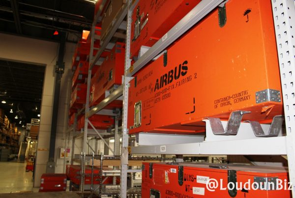 Airbus equipment at the Satair USA Customer Service Logistics Center in Sterling, VA