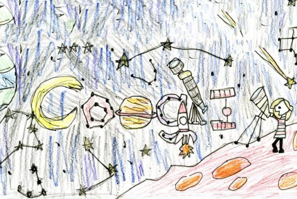 "Fourth-grader Ashley Green of Pinebrook Elementary School in Aldie is the winner of the Doodle for Google art contest for the state of Virginia. Her doodle is titled ""Lost in Space."" (Courtesy Google)"