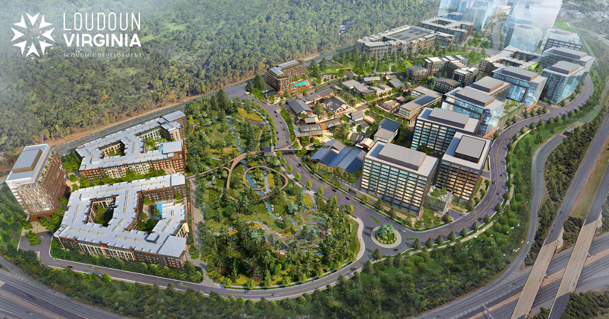 Bird's eye view rendering of planned development at Innovation Station